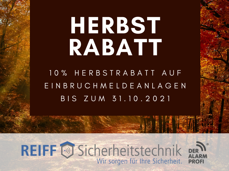 Herbst-Rabatt bei REIFF Sicherheitstechnik